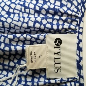STYLUS Tops - Stylus Blue White Hi Low Top Size Large